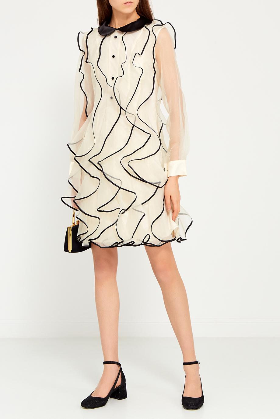 0edac9ad436 Шелковое бежевое платье с воланами - в интернет магазине ...